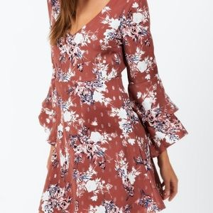As U Wish Gaela Floral Bell Sleeve Dress NWT SZ M